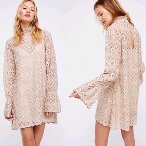 Free People Simone Scalloped Crochet Lace Dress